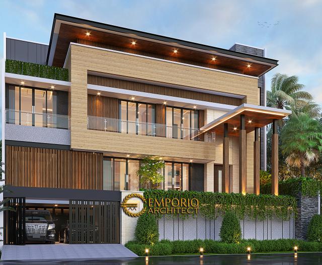 Desain Rumah Modern 2.5 Lantai Bapak Syoffa di Jakarta Timur - Tampak Depan