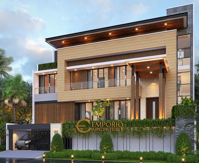 Desain Tampak Depan 2 Rumah Modern 2.5 Lantai Bapak Syoffa di Jakarta Timur