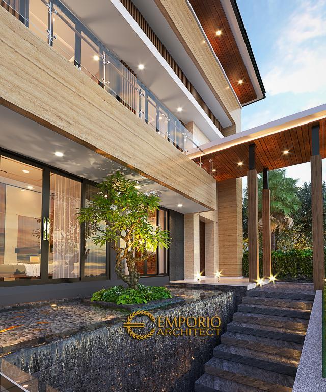 Desain Tampak Detail Depan Rumah Modern 2.5 Lantai Bapak Syoffa di Jakarta Timur