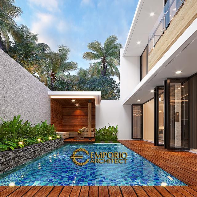 Desain Tampak Detail Belakang 1 Rumah Modern 2.5 Lantai Bapak Syoffa di Jakarta Timur