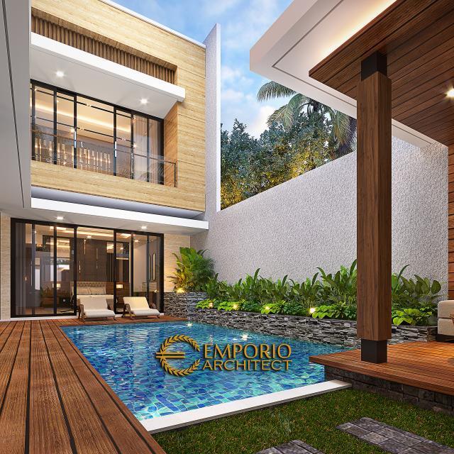 Desain Tampak Detail Belakang 2 Rumah Modern 2.5 Lantai Bapak Syoffa di Jakarta Timur