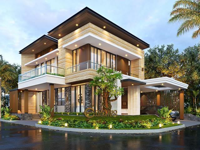 Desain Rumah Modern 2.5 Lantai Ibu Mia di Jakarta Timur - Tampak Hook