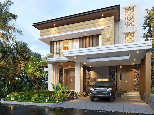 Desain Tampak Depan Rumah Modern 2.5 Lantai Ibu Mia di Jakarta Timur