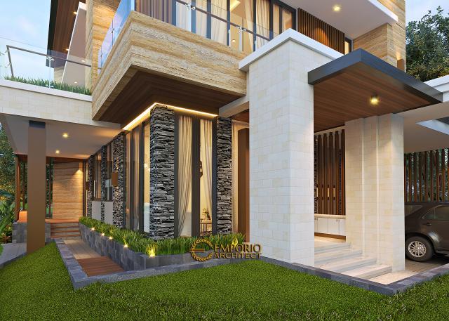 Desain Tampak Detail Depan Rumah Modern 2.5 Lantai Ibu Mia di Jakarta Timur