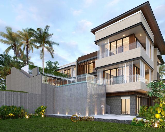 Desain Tampak Samping 2 Rumah Modern 3 Lantai Bapak Rusdi di Padang, Sumatera Barat