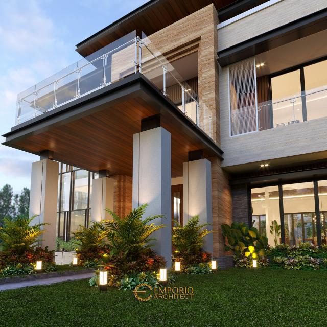 Desain Tampak Detail Samping Rumah Modern 3 Lantai Bapak Rusdi di Padang, Sumatera Barat