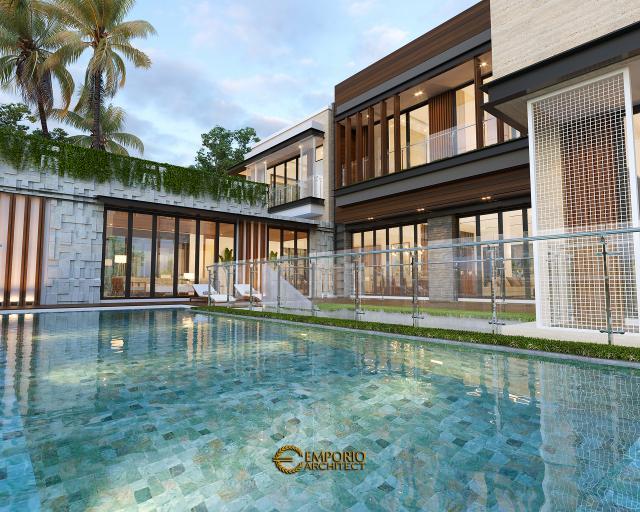 Desain Tampak Detail Samping 2 Rumah Modern 3 Lantai Bapak Rusdi di Padang, Sumatera Barat