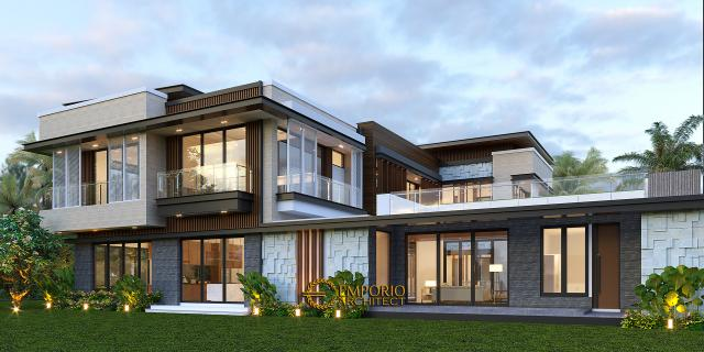 Desain Tampak Belakang Rumah Modern 3 Lantai Bapak Rusdi di Padang, Sumatera Barat