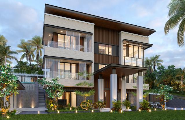 Desain Rumah Modern 3 Lantai Bapak Rusdi di Padang, Sumatera Barat - Tampak Depan