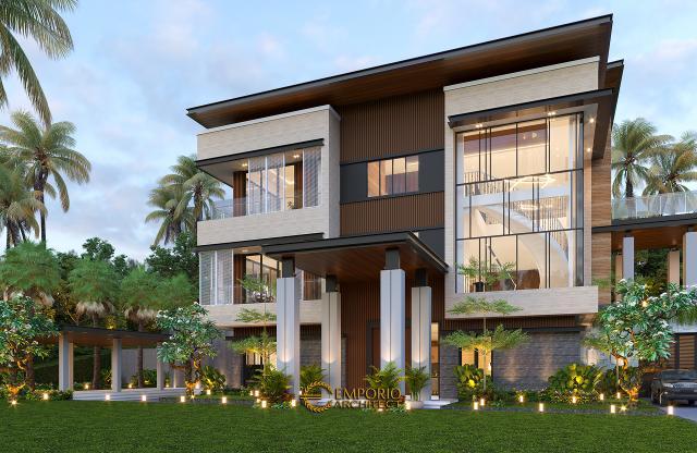 Desain Tampak Depan 2 Rumah Modern 3 Lantai Bapak Rusdi di Padang, Sumatera Barat