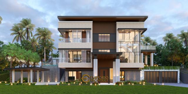 Desain Tampak Depan 3 Rumah Modern 3 Lantai Bapak Rusdi di Padang, Sumatera Barat