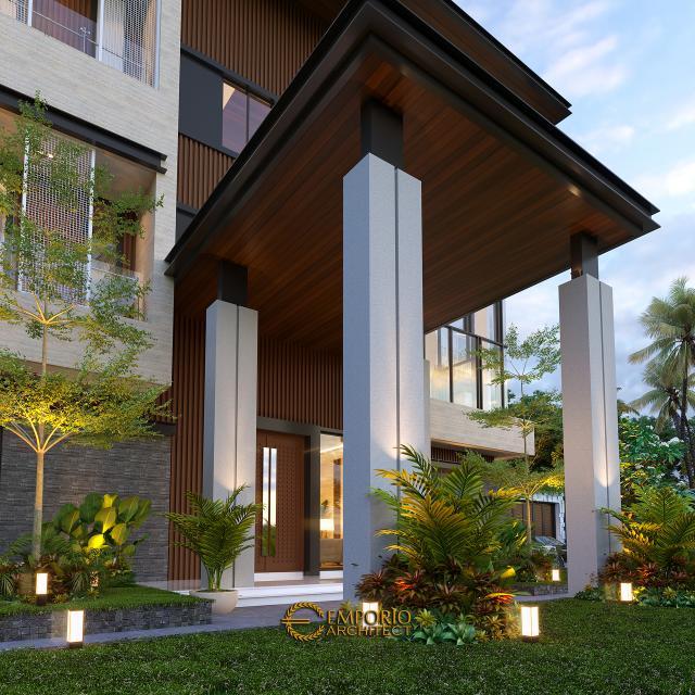 Desain Tampak Detail Depan Rumah Modern 3 Lantai Bapak Rusdi di Padang, Sumatera Barat