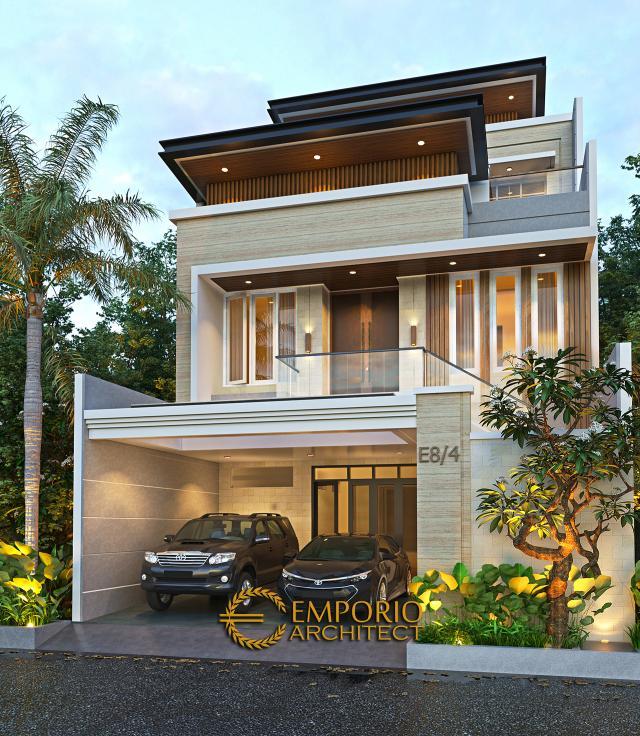 Desain Rumah Modern 3 Lantai Ibu Stephanie di Jakarta Barat - Tampak Depan