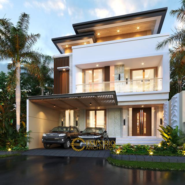 Desain Rumah Modern 3 Lantai Ibu Desi di Makassar, Sulawesi Selatan - Tampak Depan