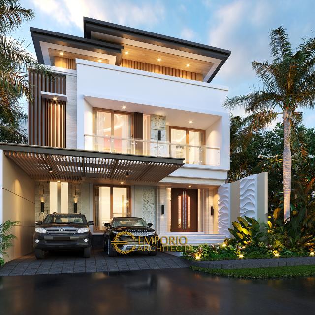 Desain Tampak Depan 2 Rumah Modern 3 Lantai Ibu Desi di Makassar, Sulawesi Selatan