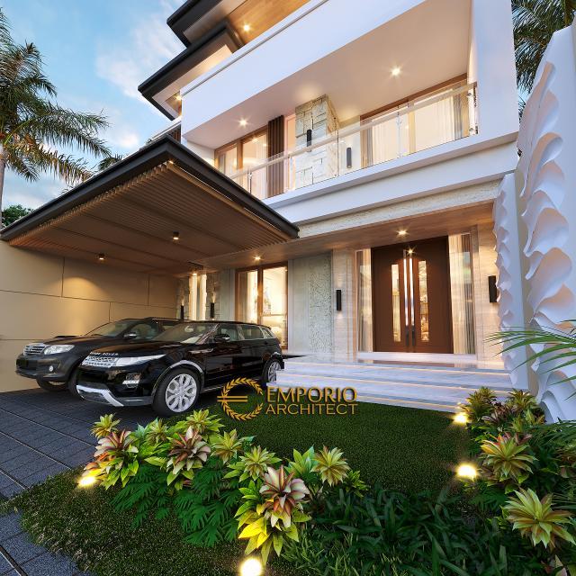 Desain Tampak Detail Depan Rumah Modern 3 Lantai Ibu Desi di Makassar, Sulawesi Selatan