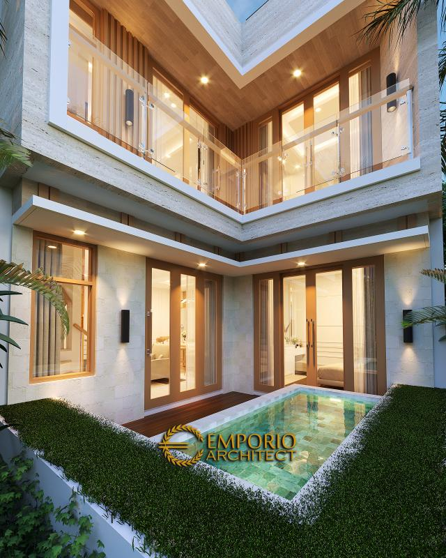 Desain Tampak Detail Belakang Rumah Modern 3 Lantai Ibu Desi di Makassar, Sulawesi Selatan