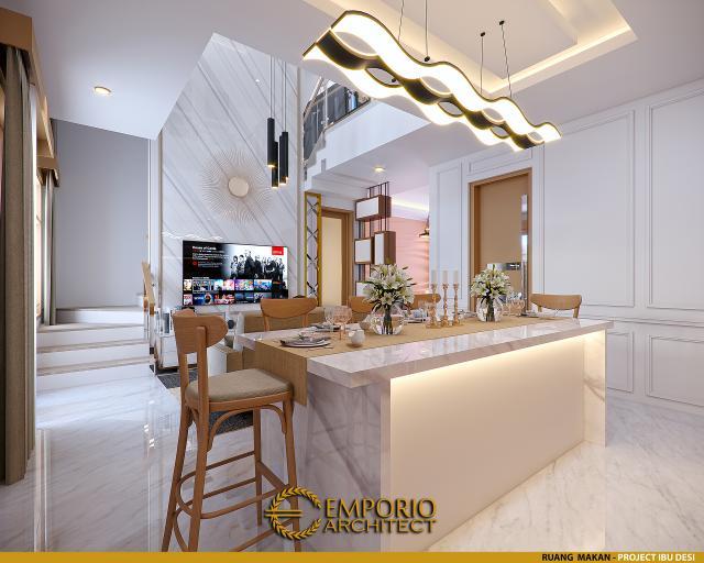 Desain Ruang Makan Rumah Modern 3 Lantai Ibu Desi di Makassar, Sulawesi Selatan
