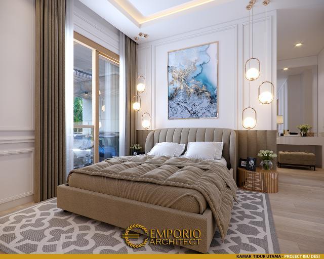 Desain Kamar Tidur Utama Rumah Modern 3 Lantai Ibu Desi di Makassar, Sulawesi Selatan