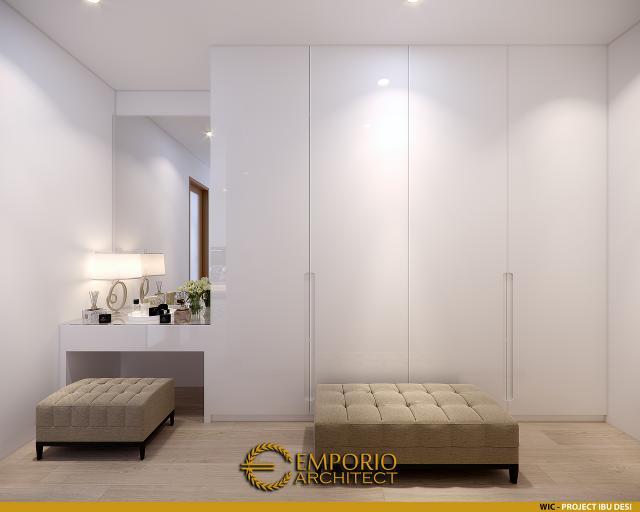 Desain Walk In Closet Rumah Modern 3 Lantai Ibu Desi di Makassar, Sulawesi Selatan
