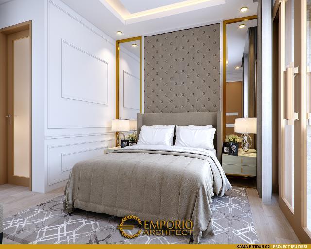 Desain Kamar Tidur 2 Rumah Modern 3 Lantai Ibu Desi di Makassar, Sulawesi Selatan