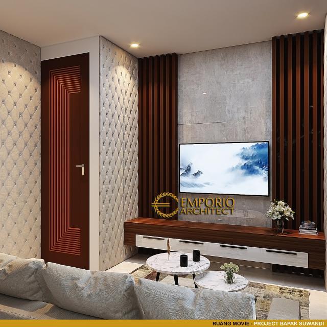 Desain Ruang Movie Rumah Modern 3 Lantai Bapak Suwandi di Surabaya