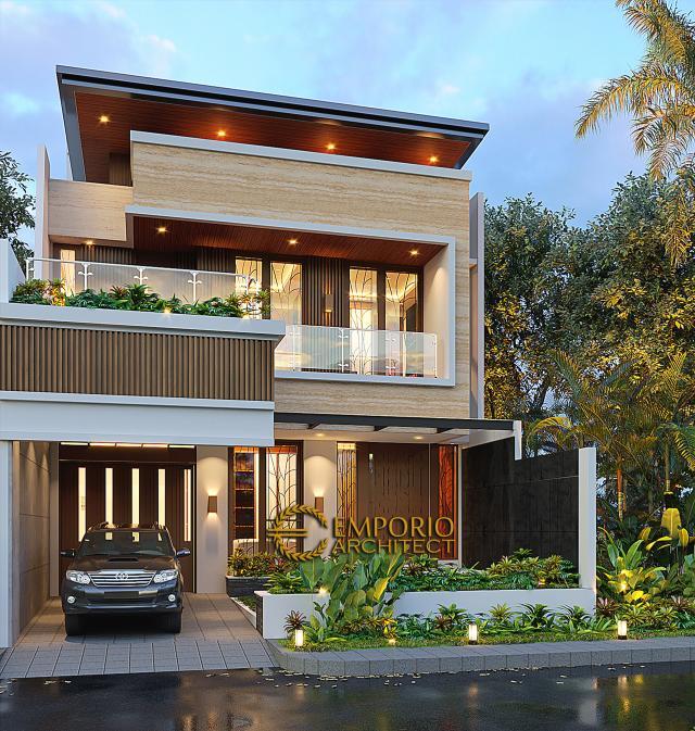 Desain Rumah Modern 3 Lantai Bapak Suwandi di Surabaya - Tampak Depan