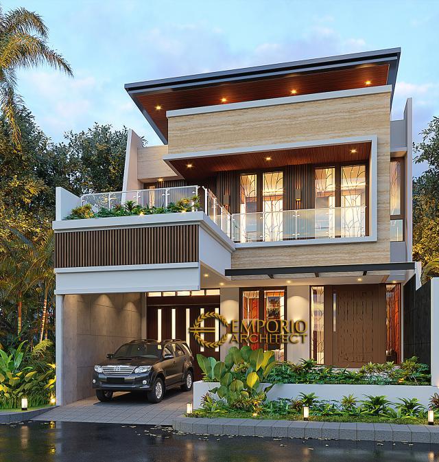 Desain Tampak Depan 2 Rumah Modern 3 Lantai Bapak Suwandi di Surabaya