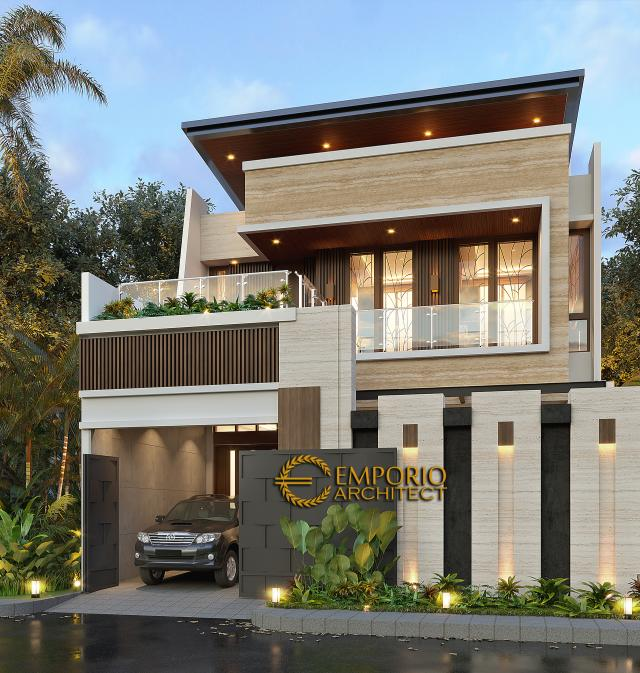 Desain Tampak Depan Dengan Pagar Rumah Modern 3 Lantai Bapak Suwandi di Surabaya