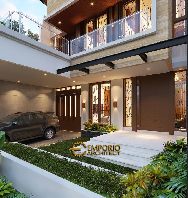Desain Tampak Detail Depan Rumah Modern 3 Lantai Bapak Suwandi di Surabaya