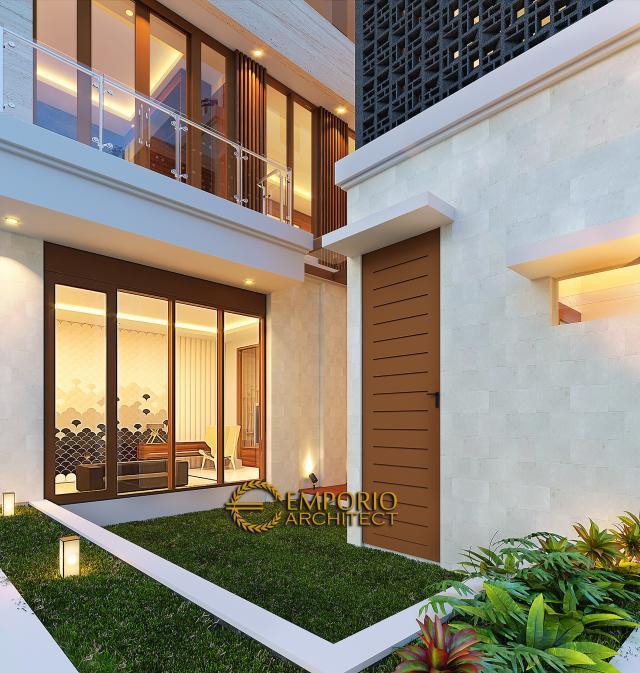 Desain Tampak Detail Belakang Rumah Modern 3 Lantai Bapak Suwandi di Surabaya