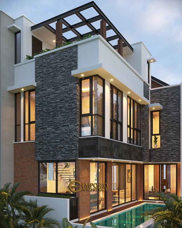 Desain Tampak Belakang Rumah Modern 3 Lantai Ibu Anita di Jakarta Selatan