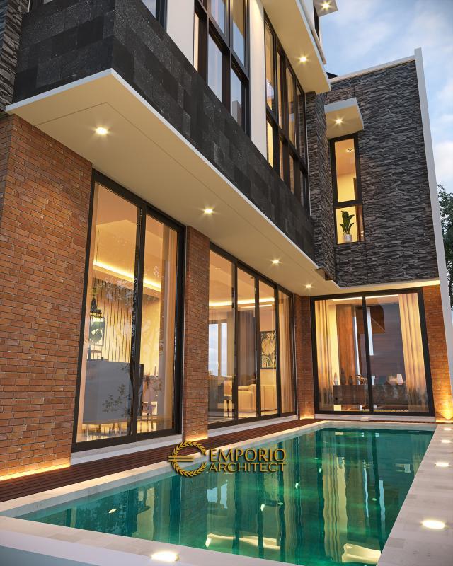 Desain Tampak Detail Belakang Rumah Modern 3 Lantai Ibu Anita di Jakarta Selatan