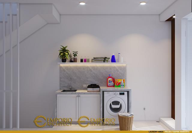 Desain Laundry Area Rumah Modern 3 Lantai Bapak Armanto di Jakarta Utara