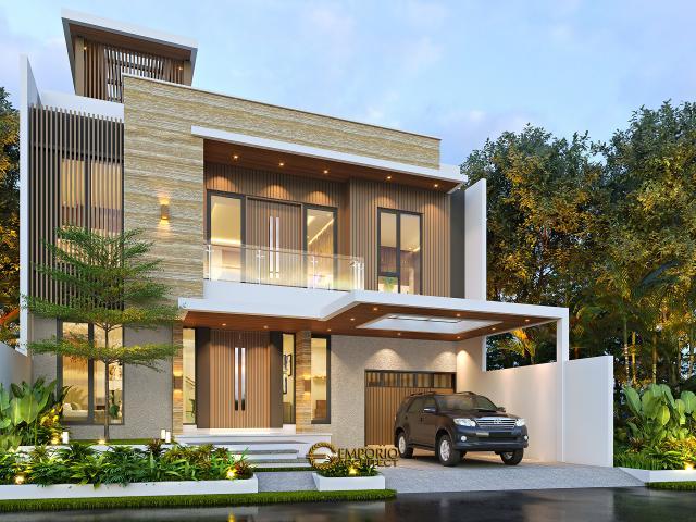 Desain Rumah Modern 3 Lantai Bapak Fahmi di Tangerang, Banten - Tampak Depan