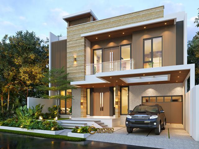 Desain Tampak Depan 2 Rumah Modern 3 Lantai Bapak Fahmi di Tangerang, Banten