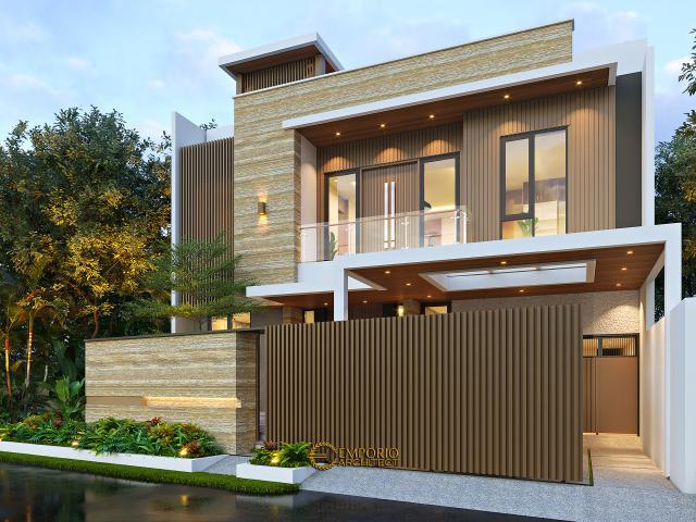 Desain Tampak Depan Dengan Pagar Rumah Modern 3 Lantai Bapak Fahmi di Tangerang, Banten