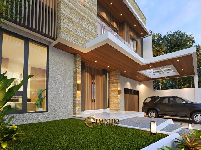 Desain Tampak Detail Depan Rumah Modern 3 Lantai Bapak Fahmi di Tangerang, Banten