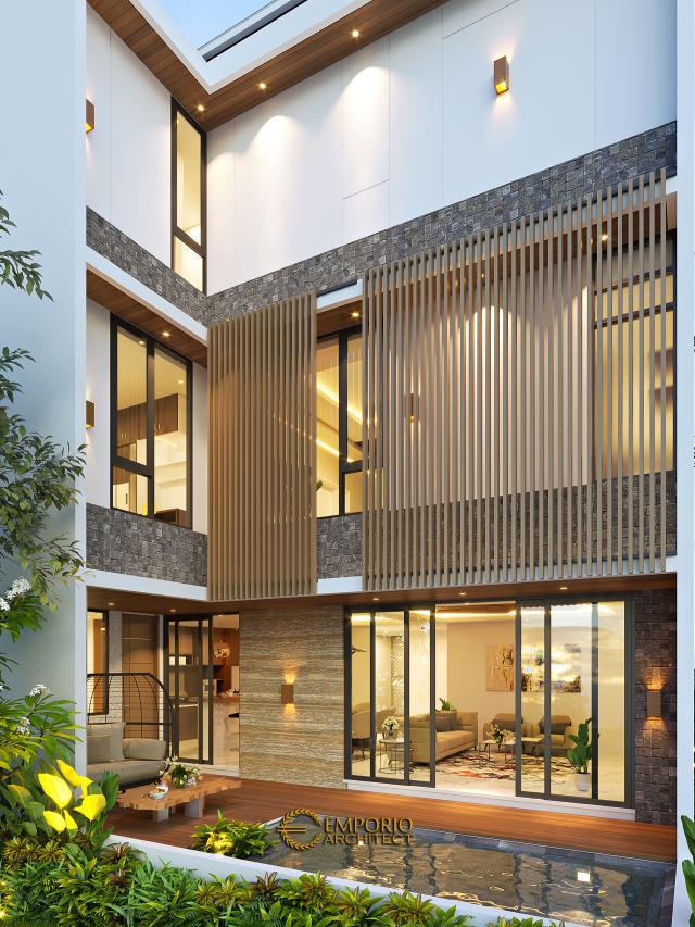 Desain Tampak Belakang Rumah Modern 3 Lantai Bapak Fahmi di Tangerang, Banten