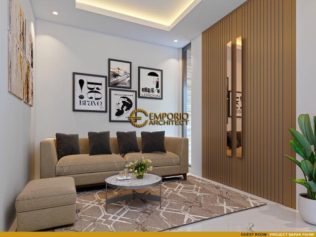 Desain Ruang Tamu Rumah Modern 3 Lantai Bapak Fahmi di Tangerang, Banten