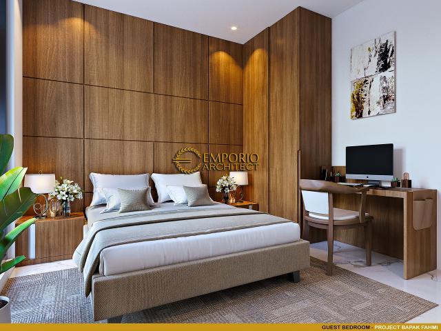Desain Kamar Tidur Tamu Rumah Modern 3 Lantai Bapak Fahmi di Tangerang, Banten
