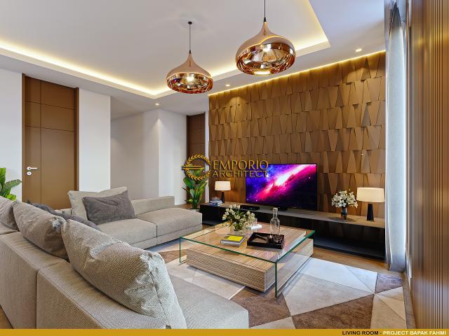 Desain Ruang Keluarga Rumah Modern 3 Lantai Bapak Fahmi di Tangerang, Banten