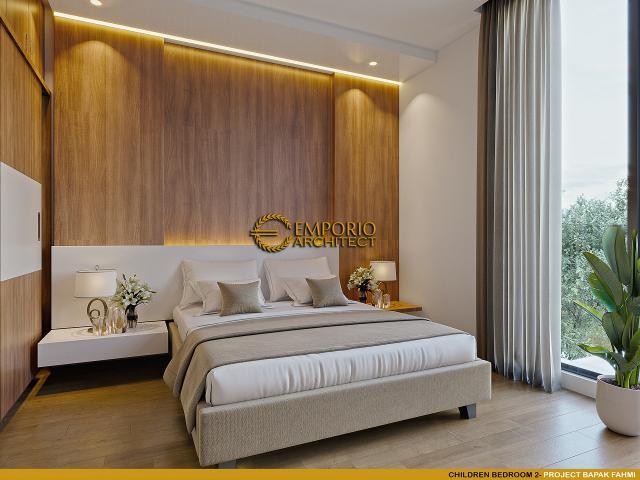 Desain Kamar Tidur Anak 2 Rumah Modern 3 Lantai Bapak Fahmi di Tangerang, Banten