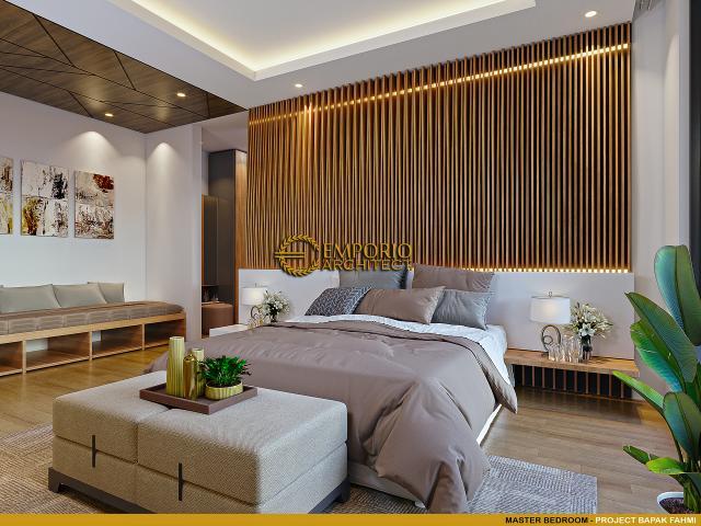 Desain Kamar Tidur Utama Rumah Modern 3 Lantai Bapak Fahmi di Tangerang, Banten