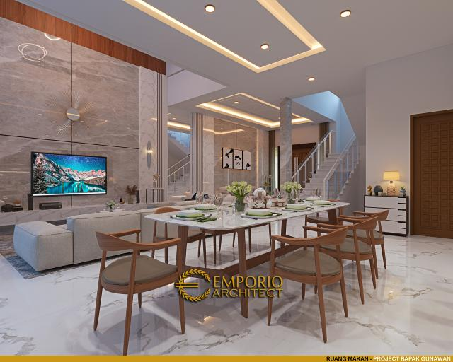 Desain Ruang Makan Rumah Modern 3 Lantai Bapak Gunawan di Jakarta Barat