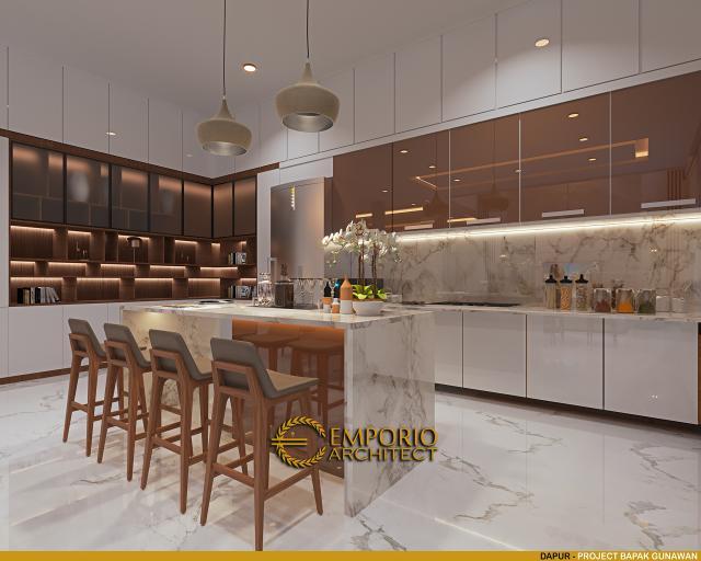 Desain Dapur Rumah Modern 3 Lantai Bapak Gunawan di Jakarta Barat