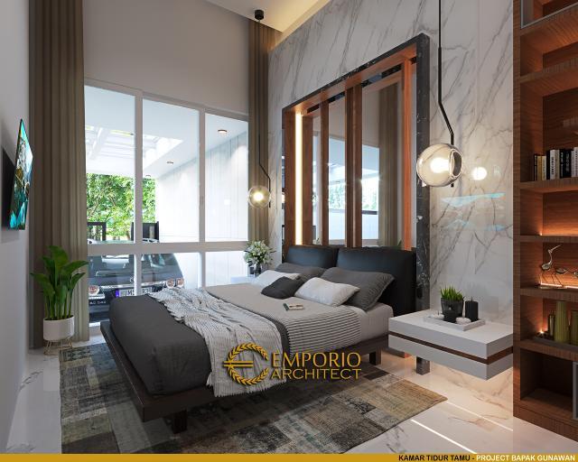 Desain Kamar Tidur Tamu Rumah Modern 3 Lantai Bapak Gunawan di Jakarta Barat