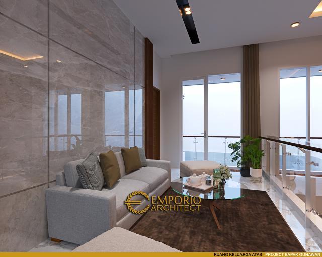Desain Ruang Keluarga Atas Rumah Modern 3 Lantai Bapak Gunawan di Jakarta Barat