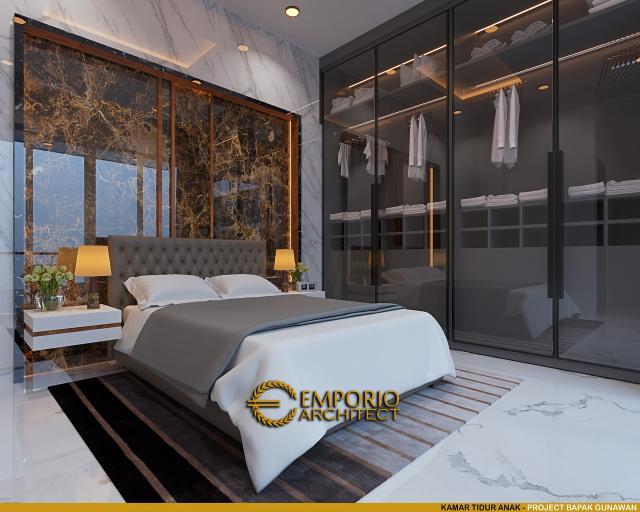 Desain Kamar Tidur Anak Rumah Modern 3 Lantai Bapak Gunawan di Jakarta Barat