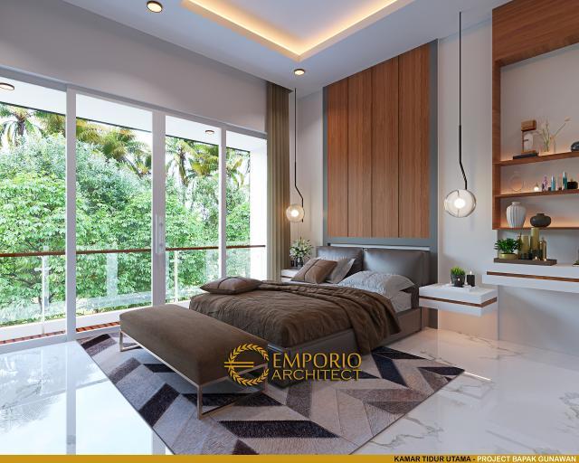 Desain Kamar Tidur Utama Rumah Modern 3 Lantai Bapak Gunawan di Jakarta Barat